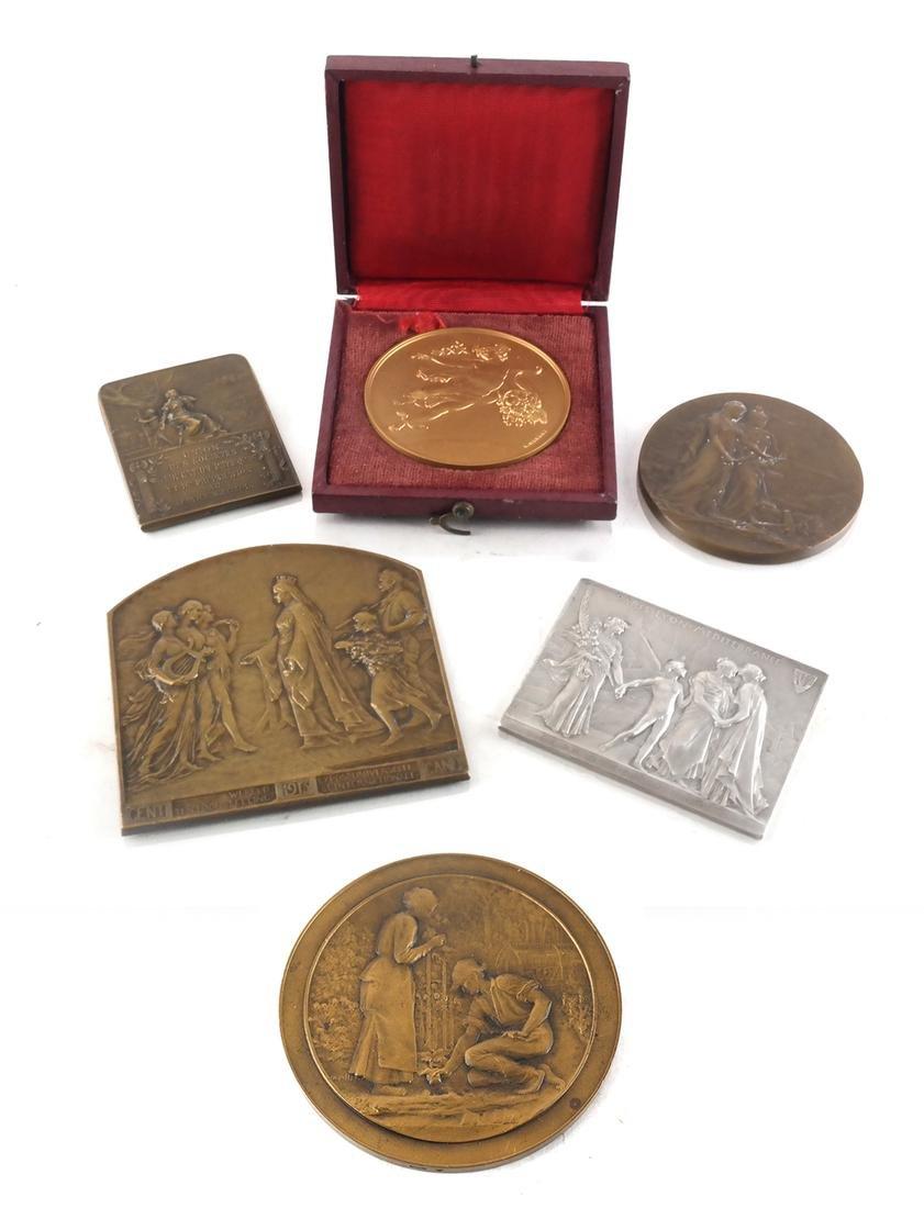 Six Bronze Art Nouveau Medals