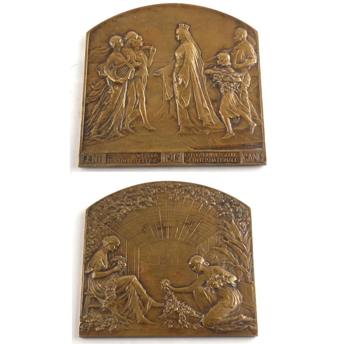 Six Bronze Art Nouveau Medals - 3