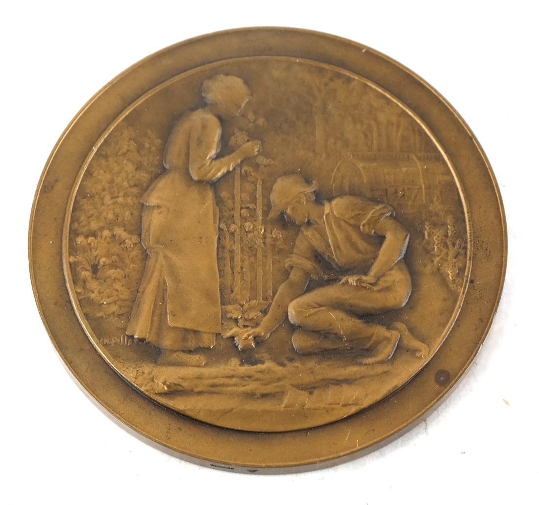 Six Bronze Art Nouveau Medals - 9