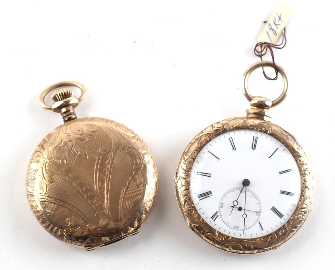 English 18k Engraved Pocket Watch, and Another