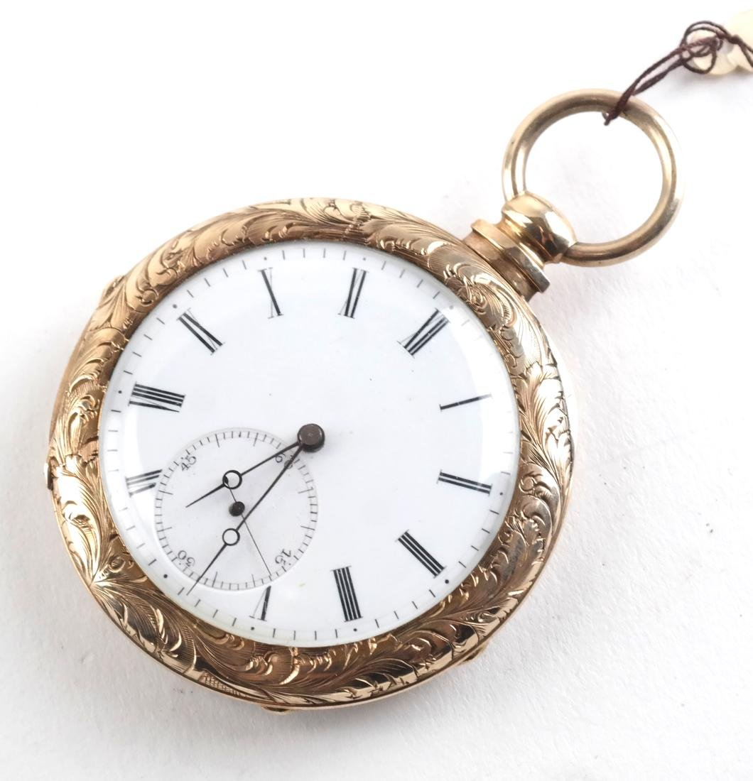 English 18k Engraved Pocket Watch, and Another - 2