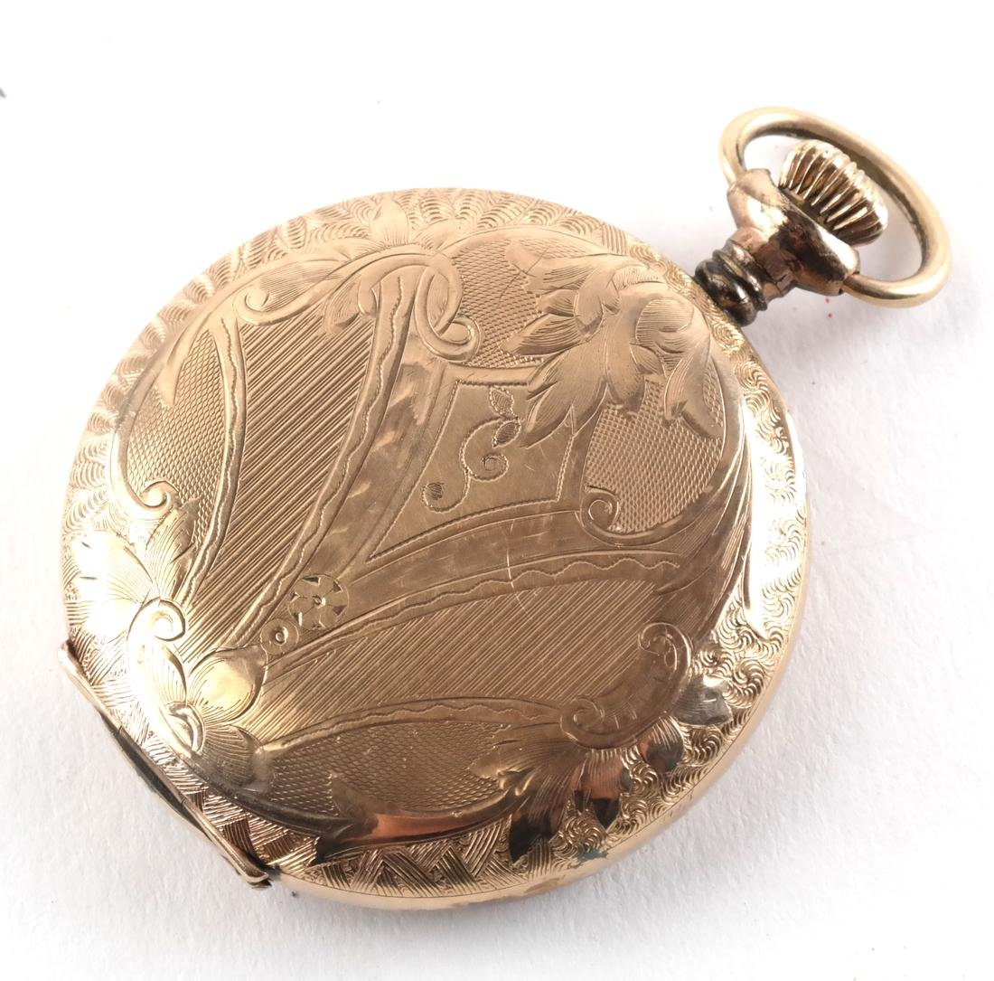 English 18k Engraved Pocket Watch, and Another - 3