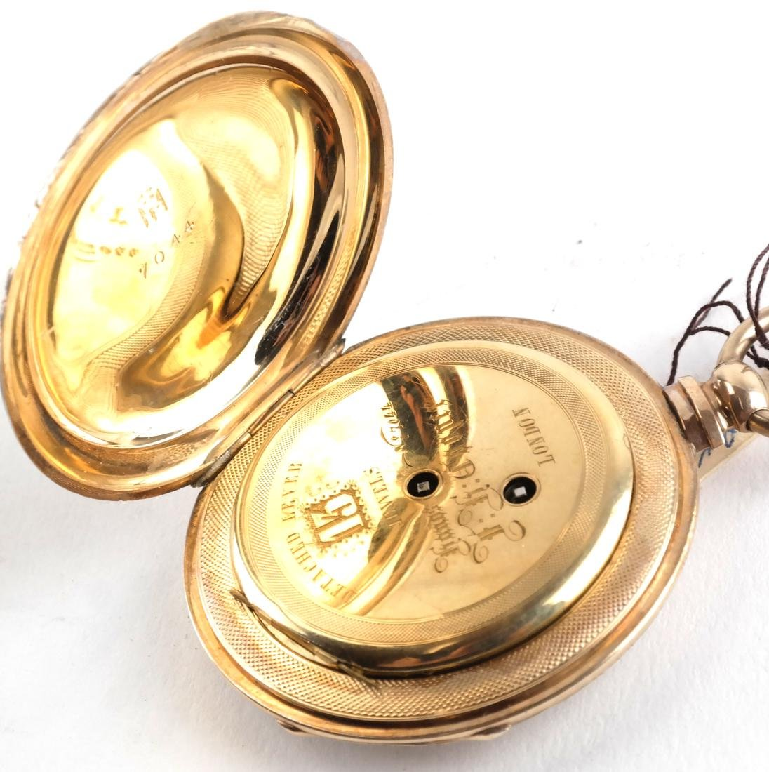 English 18k Engraved Pocket Watch, and Another - 5