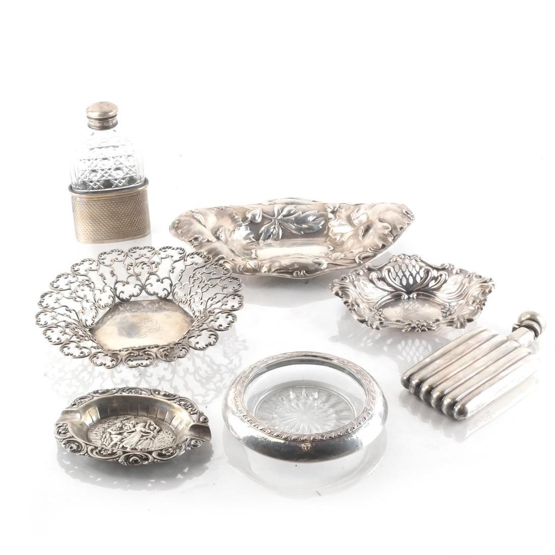 Asst. Silver Pin Trays, Receivers, Flasks