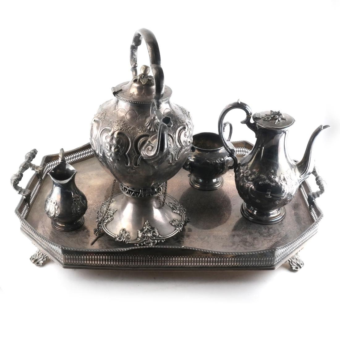 English Victorian Silver Plate Tea Set