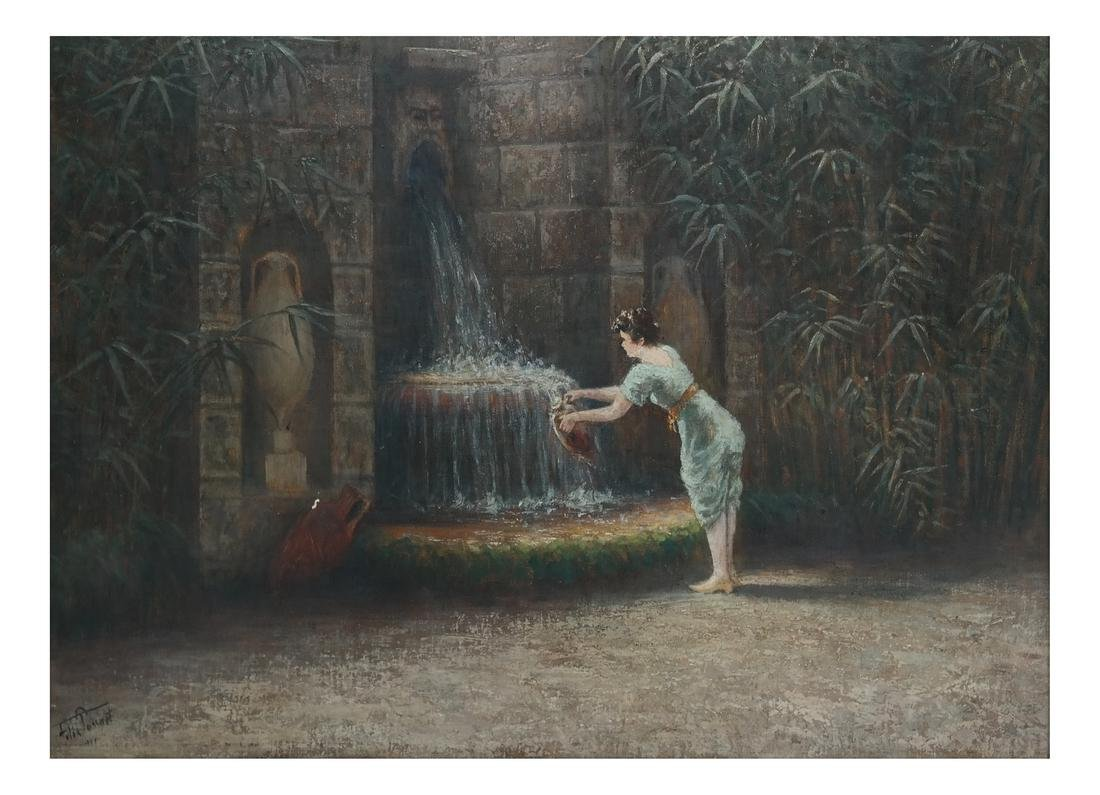 Felix Tossart, Lady At Fountain - O/C