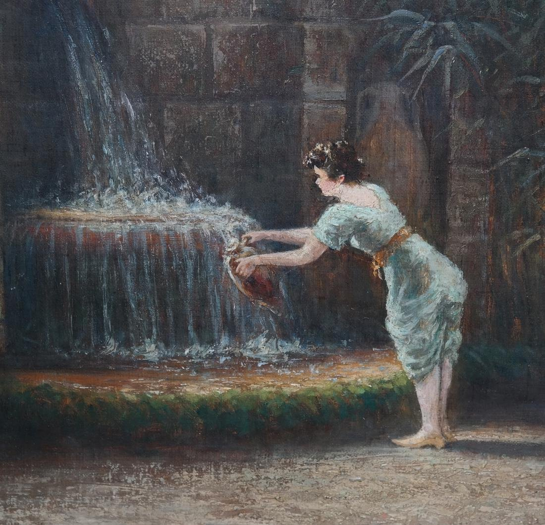 Felix Tossart, Lady At Fountain - O/C - 3