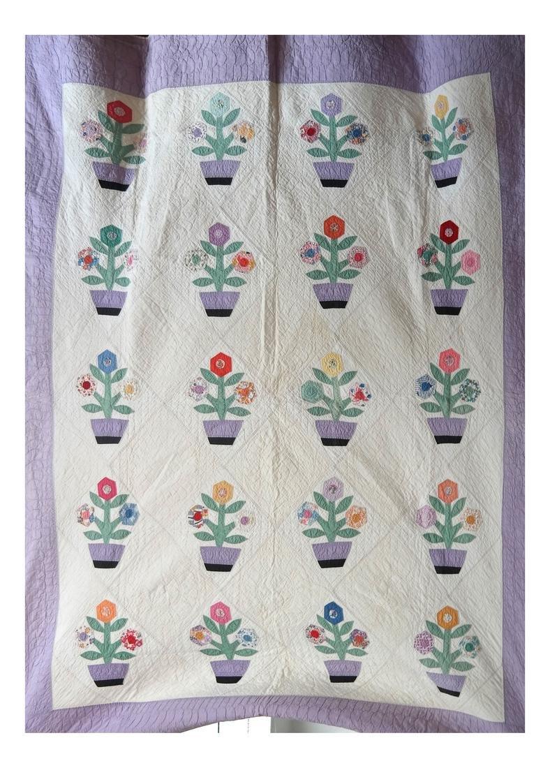 Quilt, Basket of Flowers Pattern, c. 1930