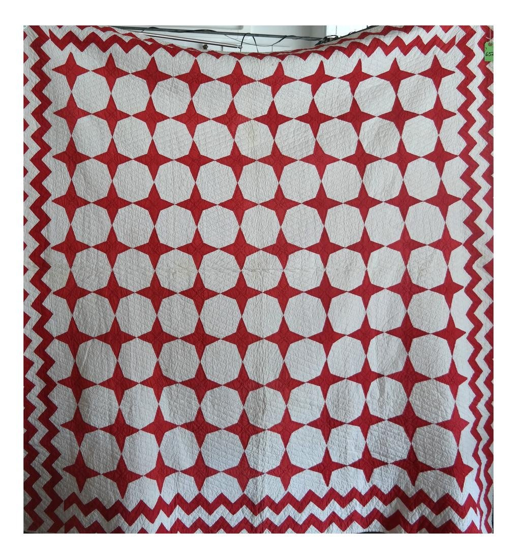 Quilt, Red Stars and Sawtooth Bands