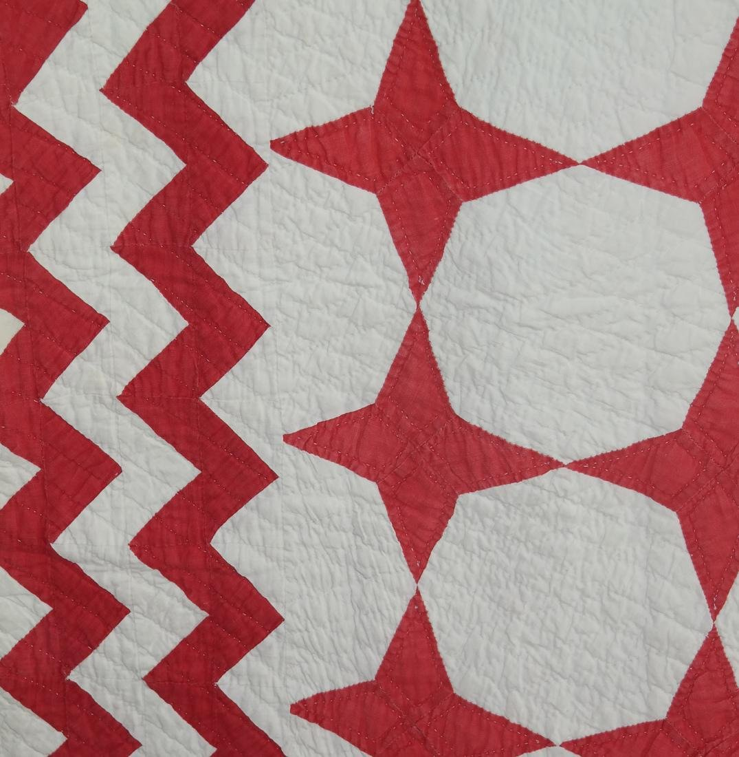 Quilt, Red Stars and Sawtooth Bands - 2