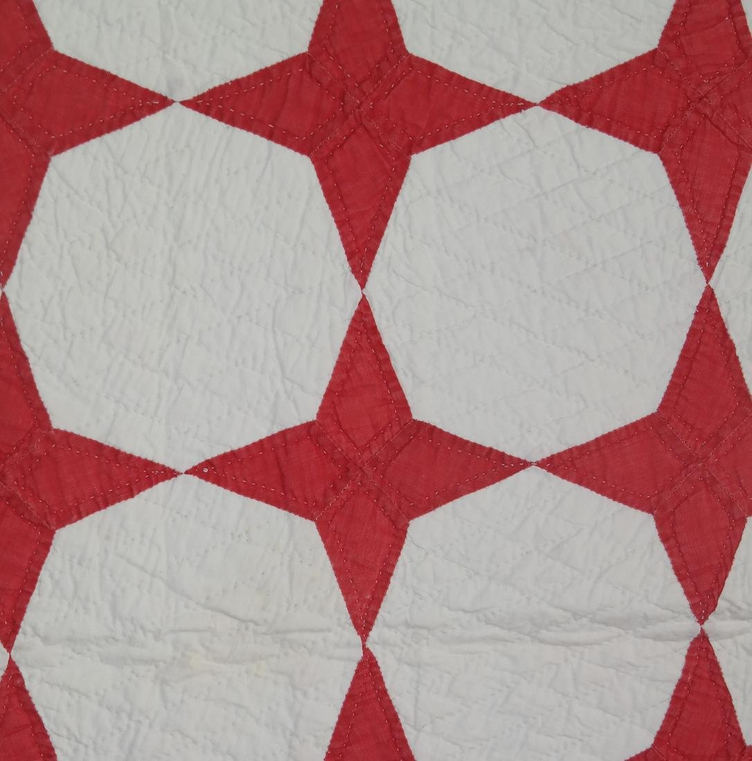 Quilt, Red Stars and Sawtooth Bands - 3