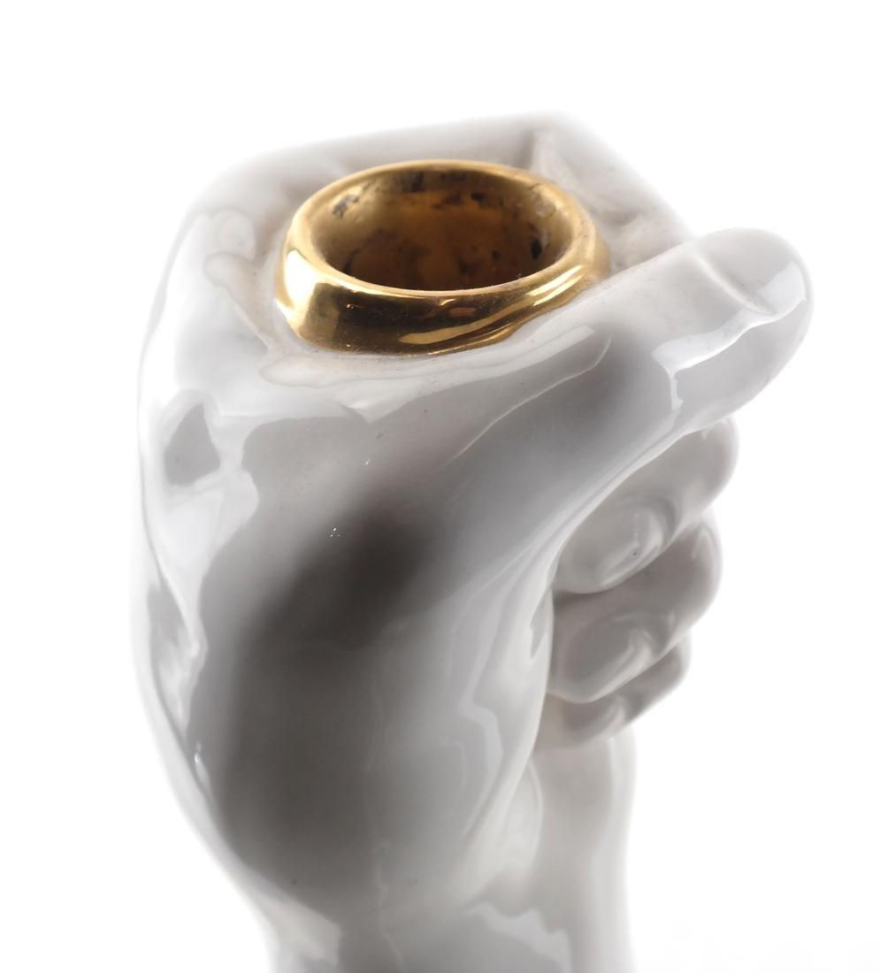Pair of White Ceramic Fist-Form Candlesticks - 2