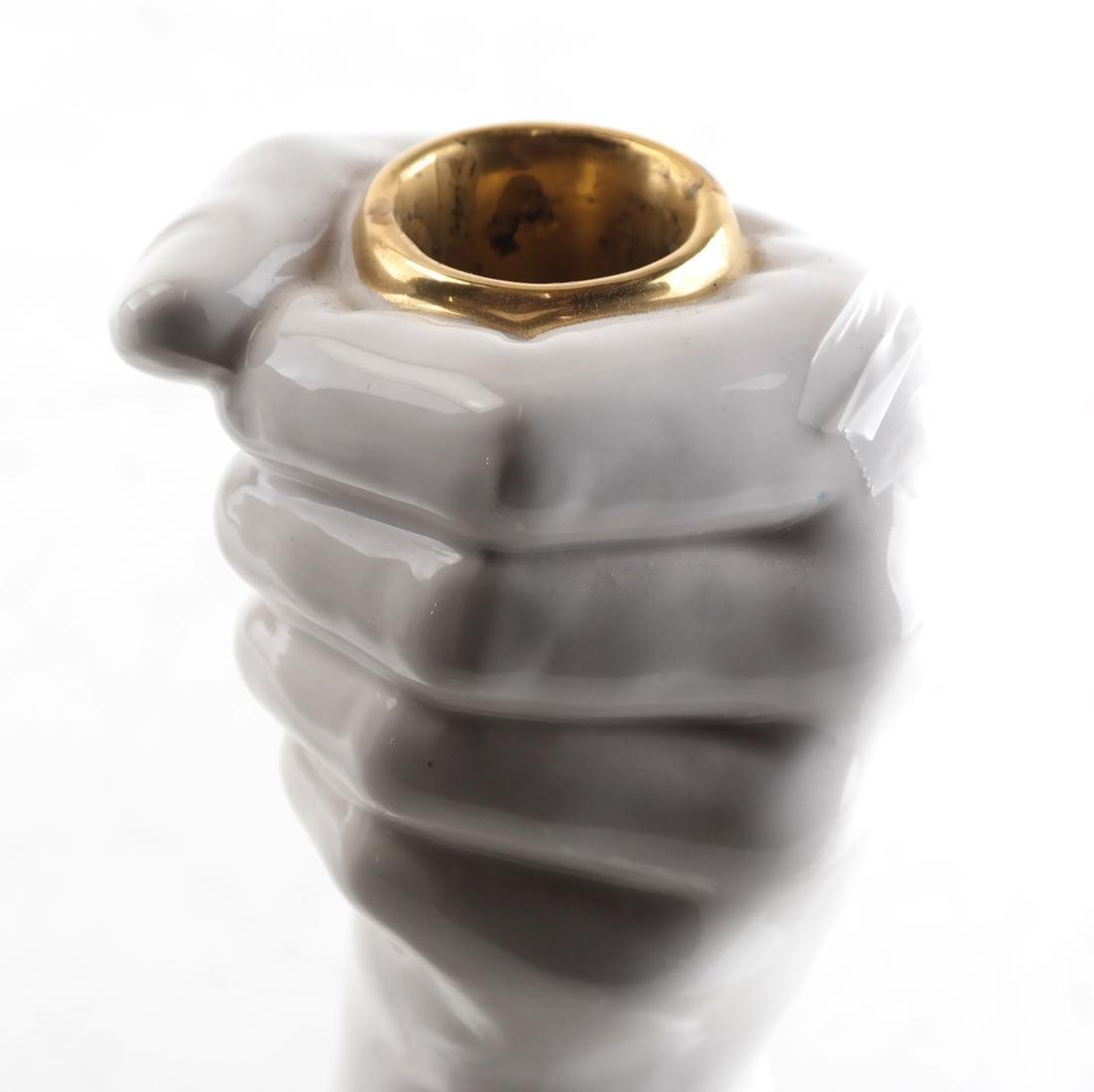 Pair of White Ceramic Fist-Form Candlesticks - 3