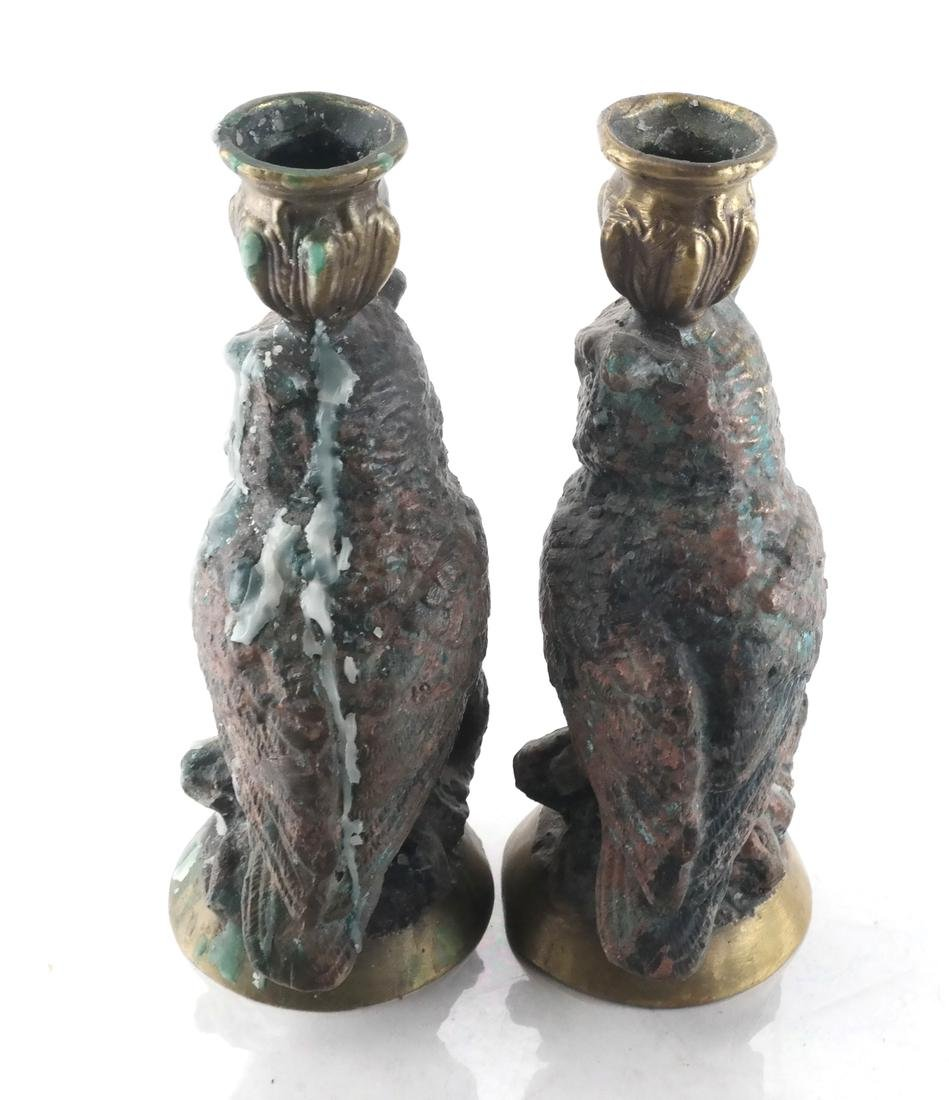Falcon Sculpture & 2 Owl Candlesticks - 4