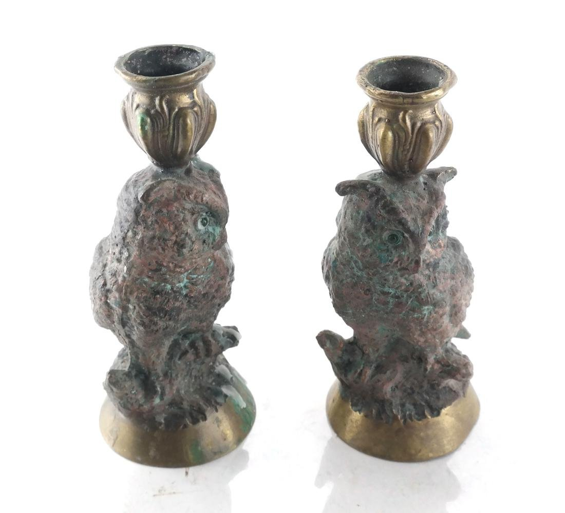 Falcon Sculpture & 2 Owl Candlesticks - 5