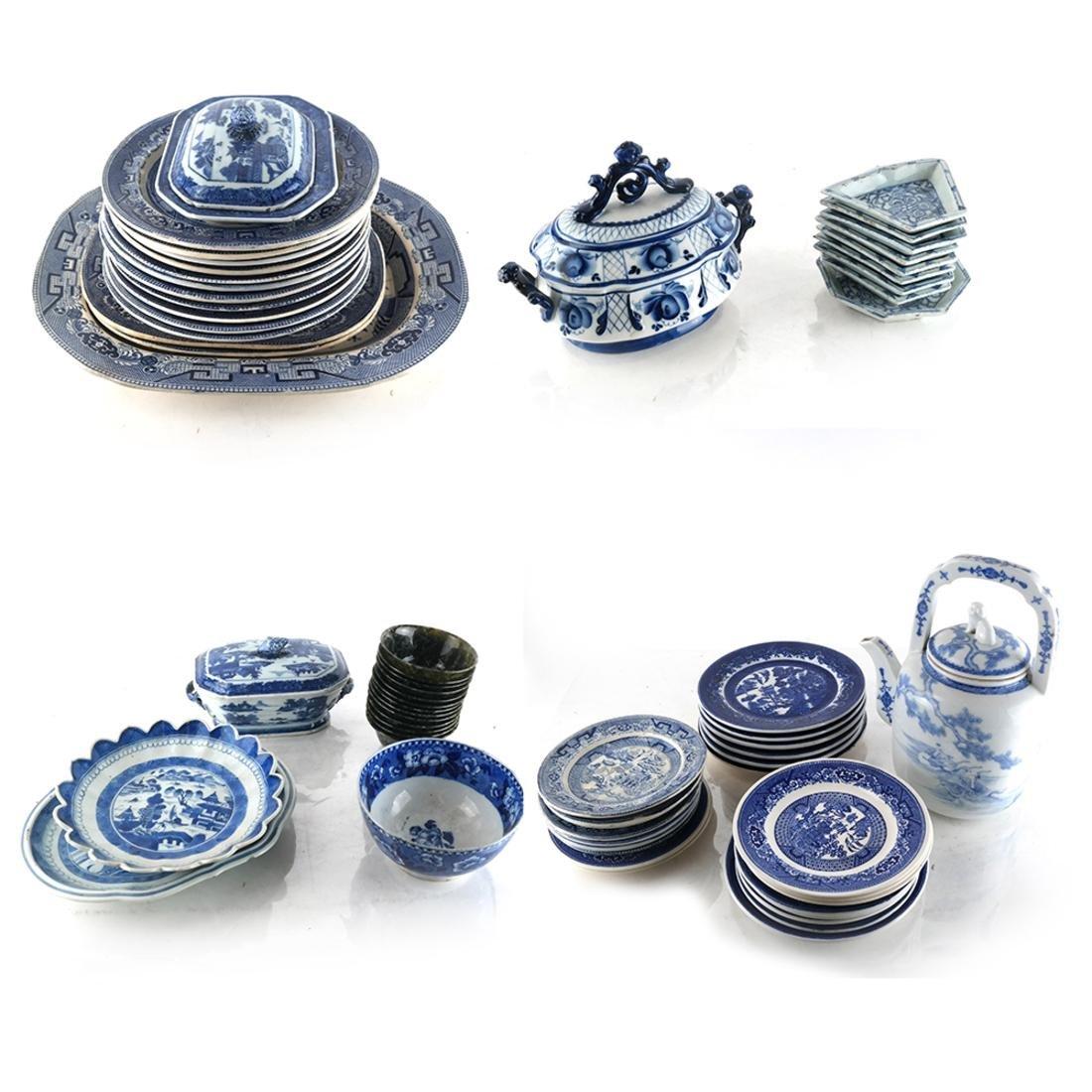Large Group English Blue/White China