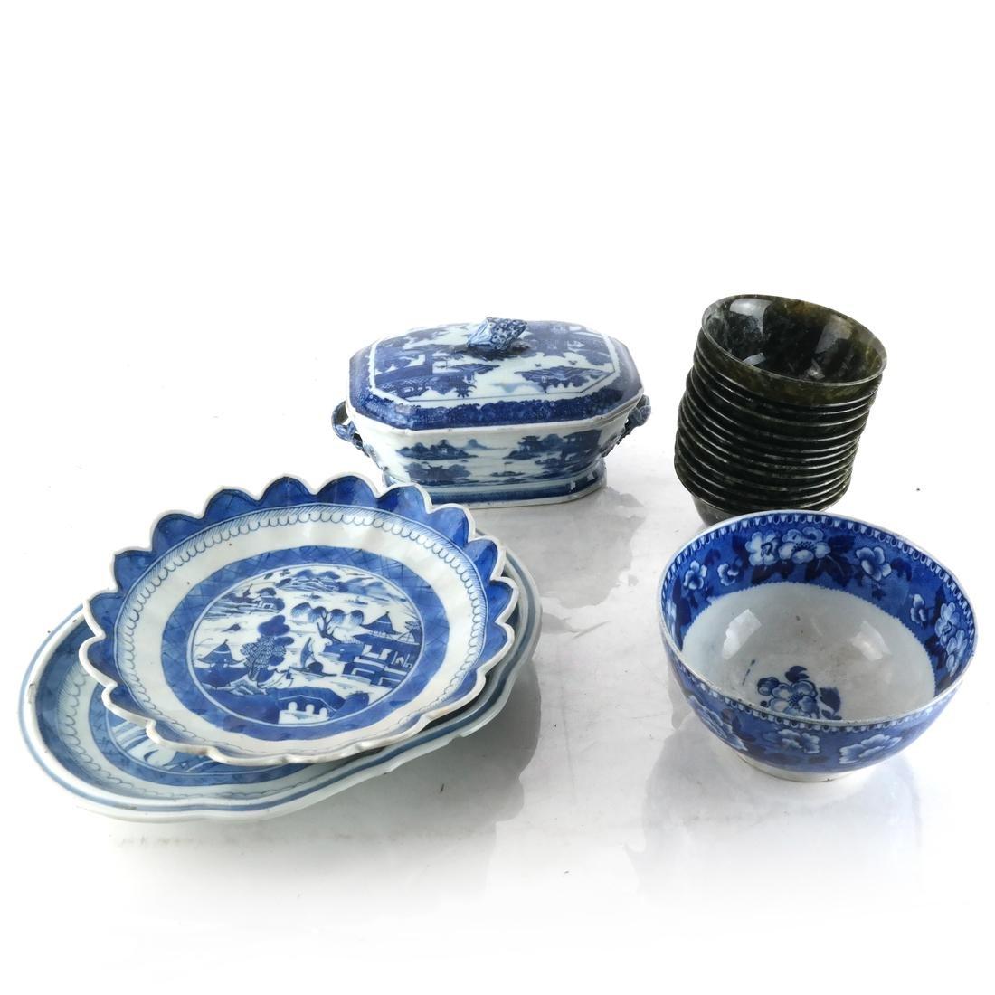 Large Group English Blue/White China - 4