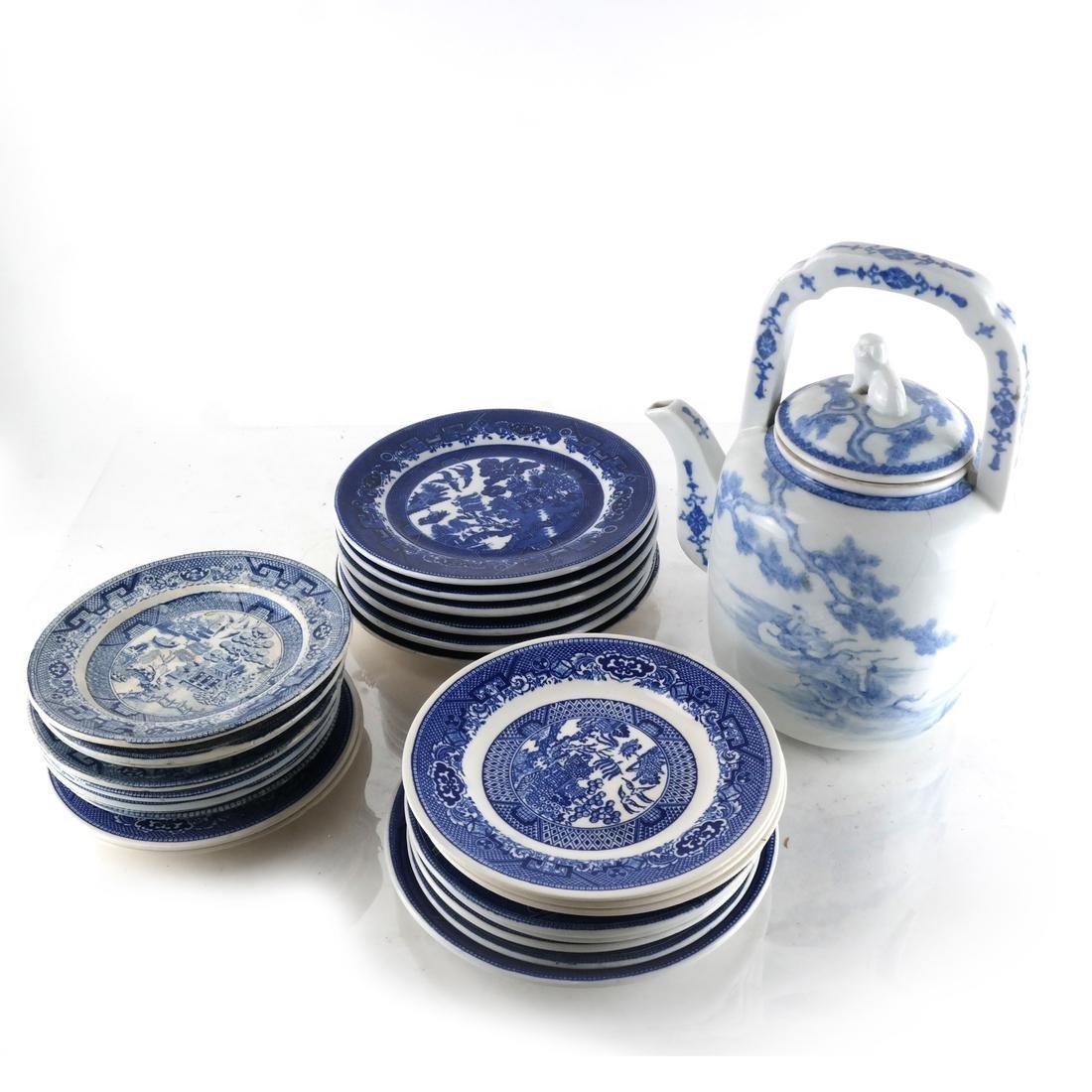 Large Group English Blue/White China - 5