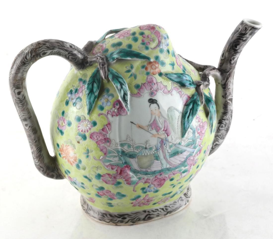 Chinese Cadogan Porcelain Famille Jaune Teapot