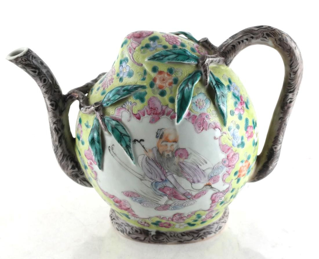 Chinese Cadogan Porcelain Famille Jaune Teapot - 4