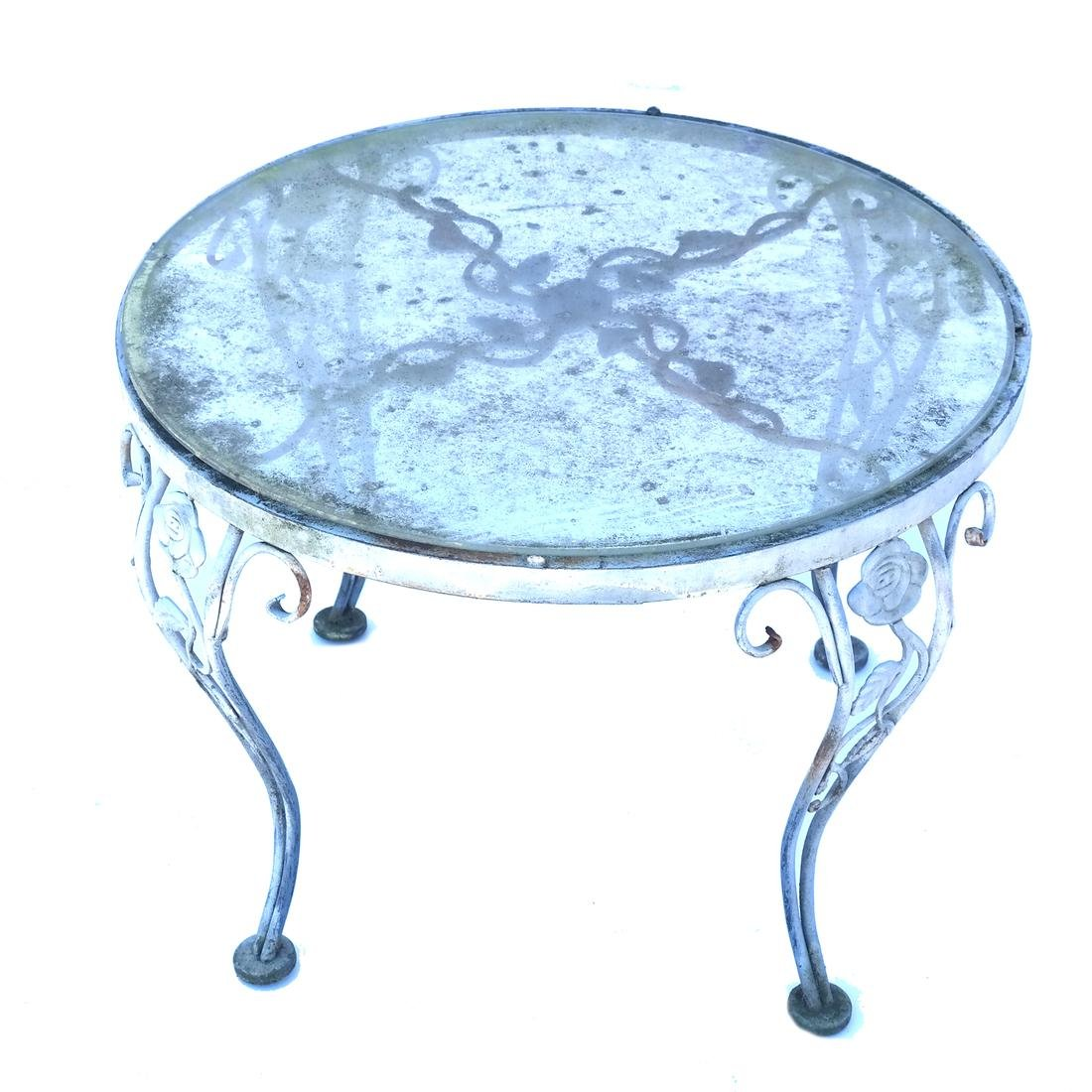 Pair Iron Glass Top Occasional Tables - 2