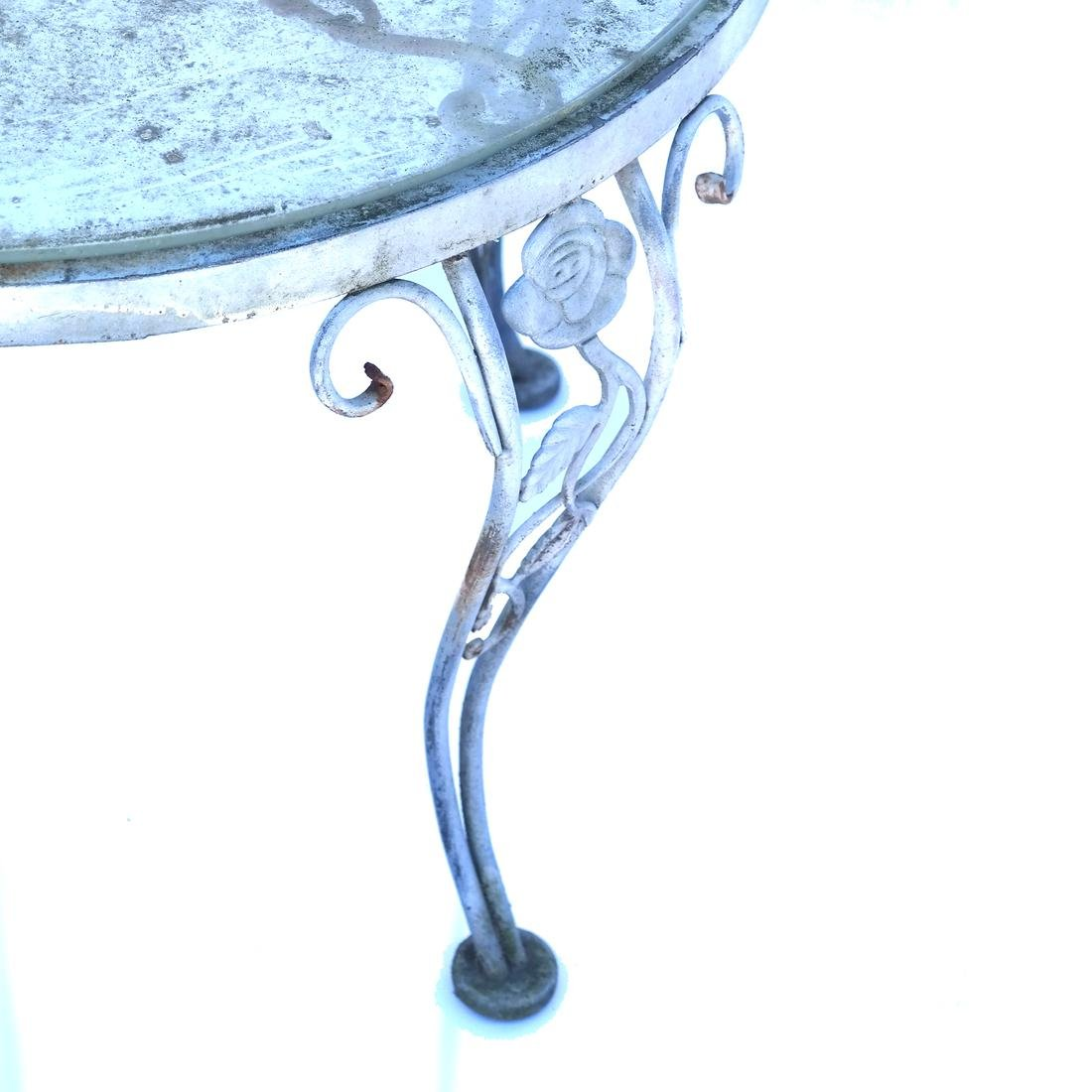 Pair Iron Glass Top Occasional Tables - 4