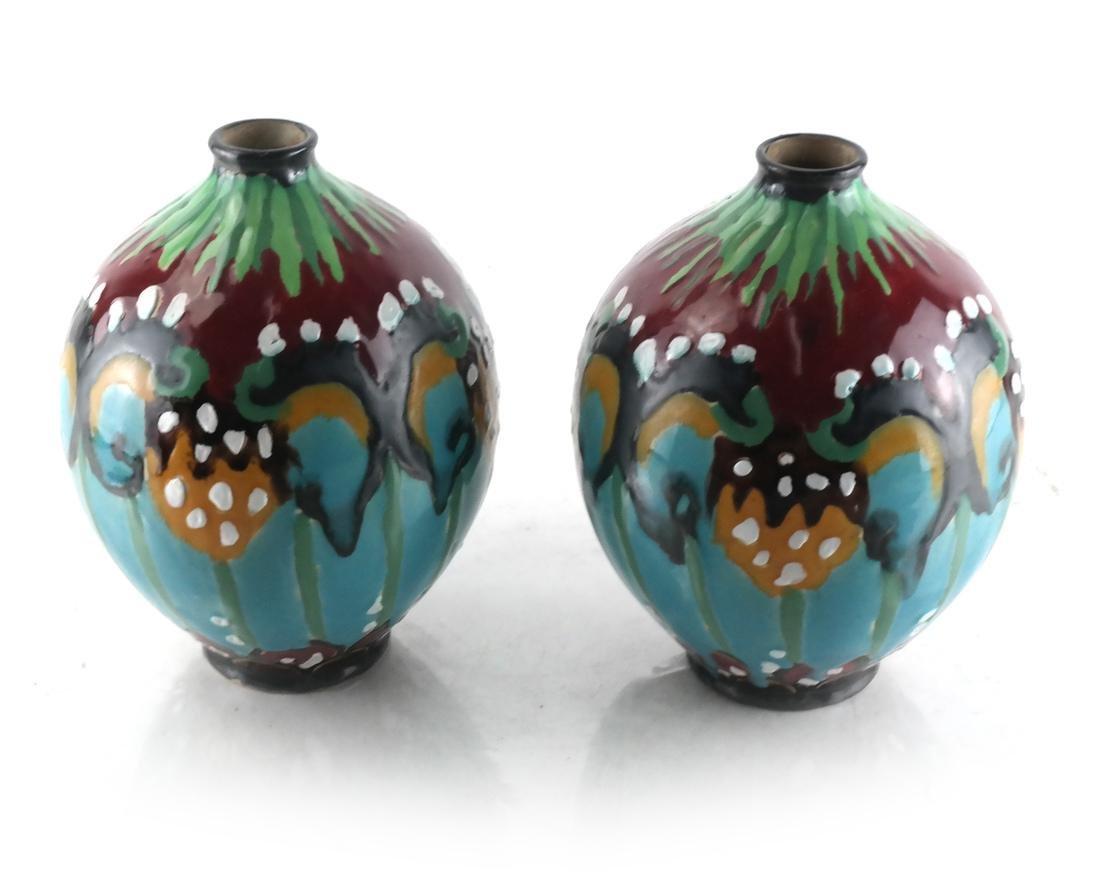 Pair French Decorated Ceramic Vases