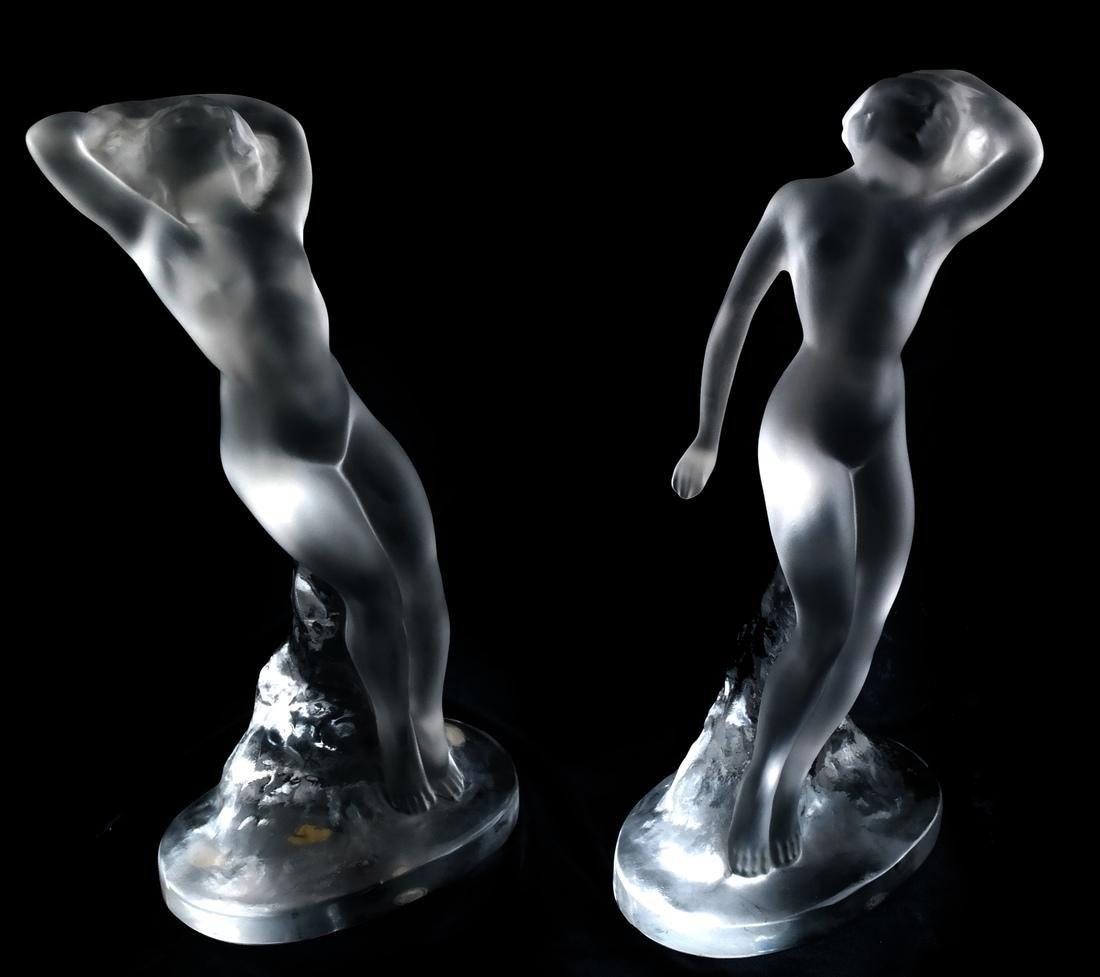 Pair Lalique, France Sculptures - Nudes