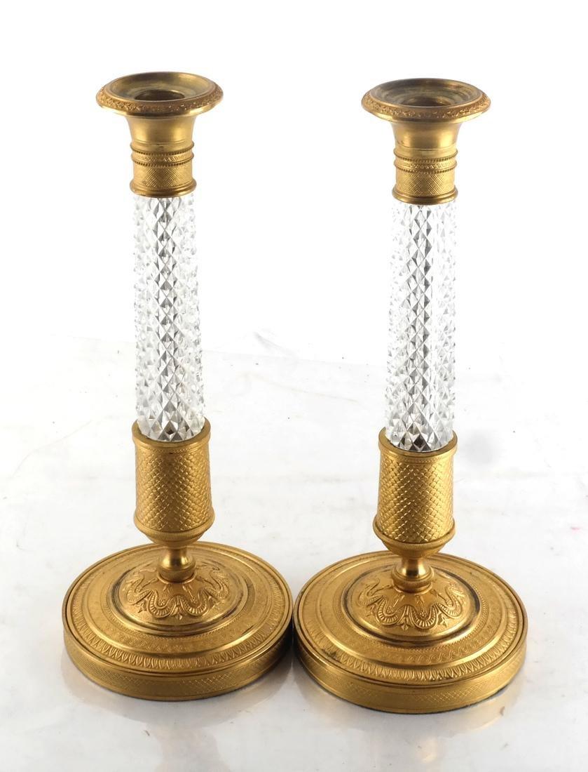 Pair Bronze Dore & Crystal Candlesticks