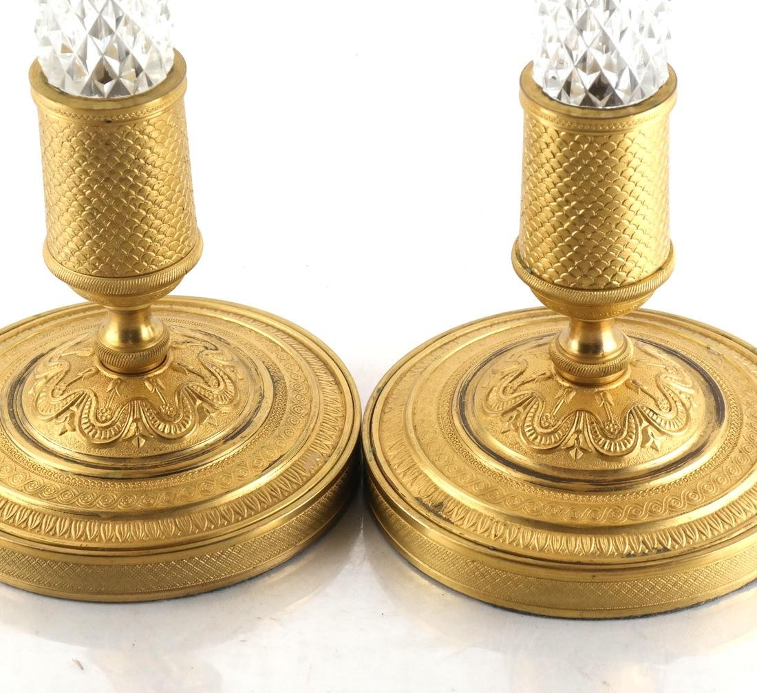 Pair Bronze Dore & Crystal Candlesticks - 3
