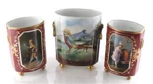 3 French Porcelain Vases, (One Limoges)