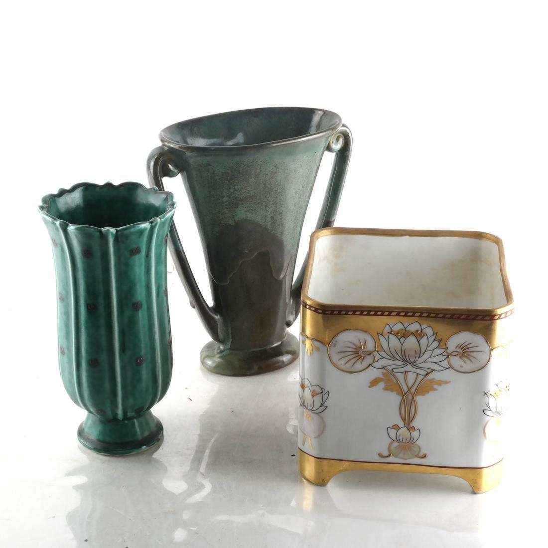Longwy Vase & Two Others