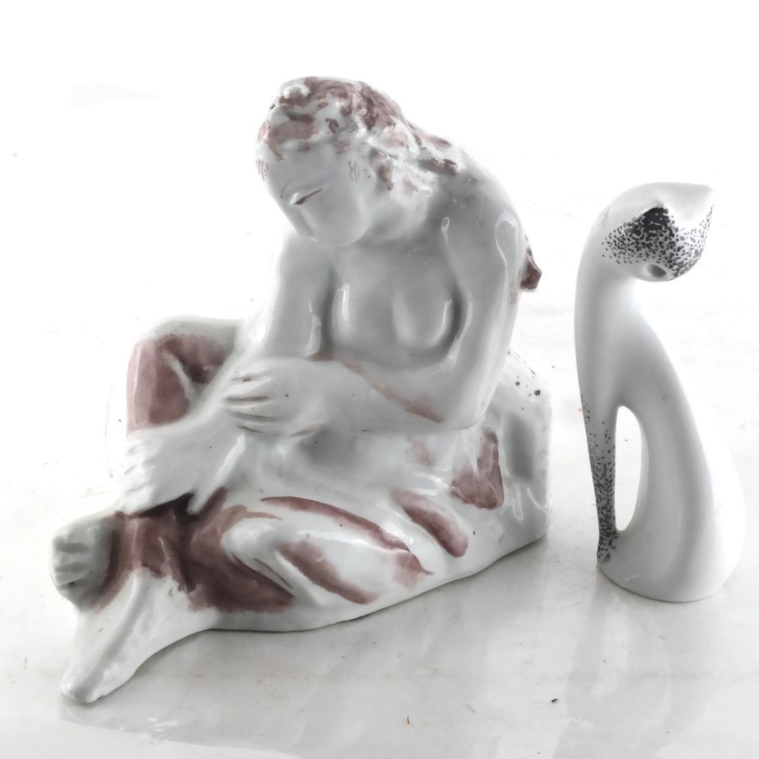 Two Ceramic Sculptures - Cat & Woman