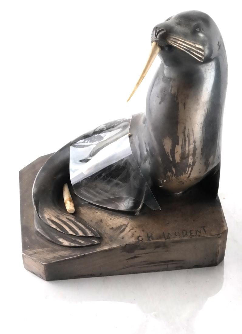 C.H. Laurent, Bronze Walrus Bookends - 2