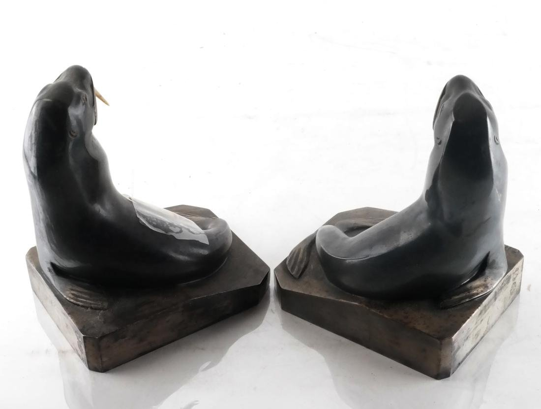 C.H. Laurent, Bronze Walrus Bookends - 5