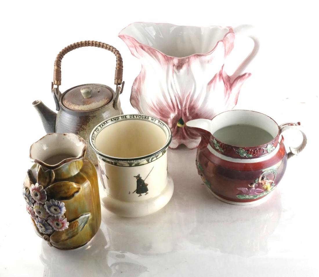 Collection of Pottery; Teapot, Jug