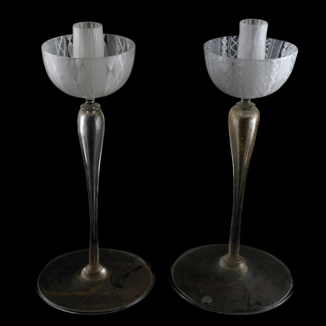 Pair Italian Glass Candlesticks