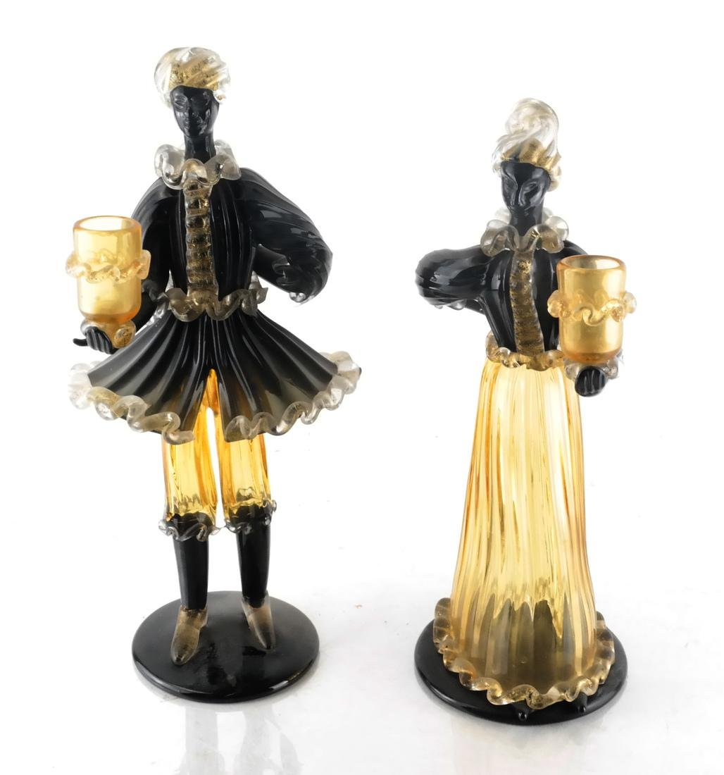 Pair of Italian Glass Bud Vases