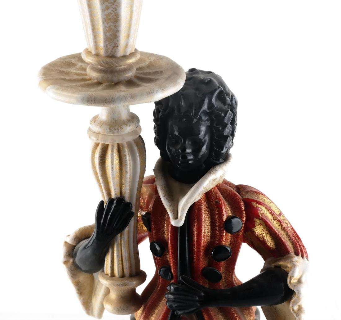 Italian Gold & Tricolor Glass Candlestick - 2