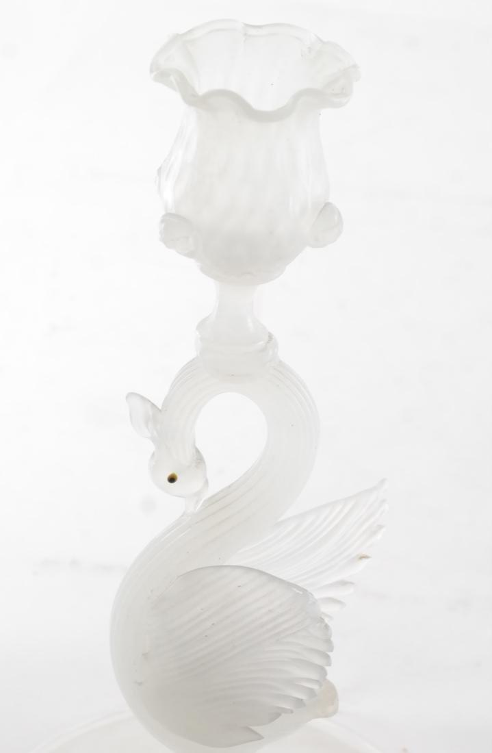 Italian Murano Glass Swan Candlesticks - 2