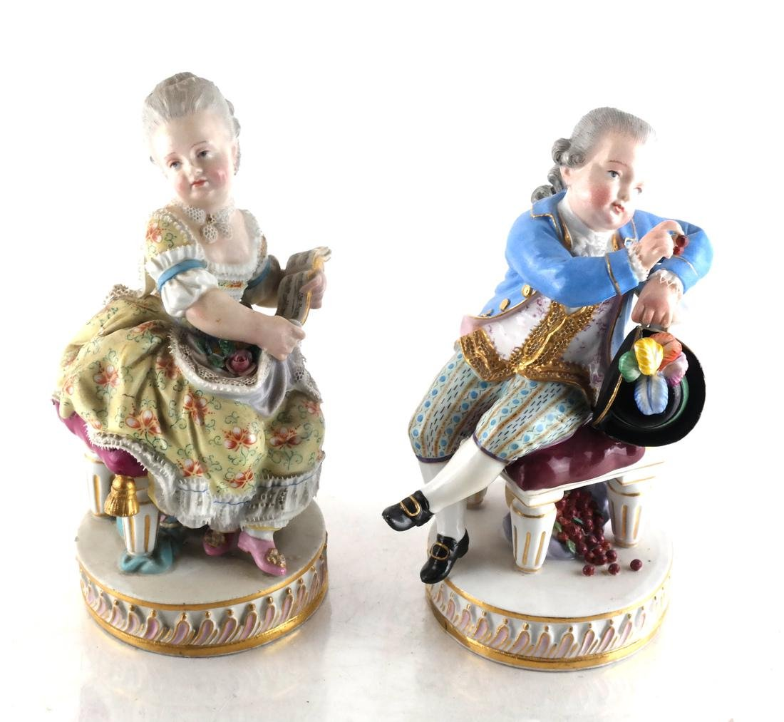 Pair Meissen Sculptures of Children
