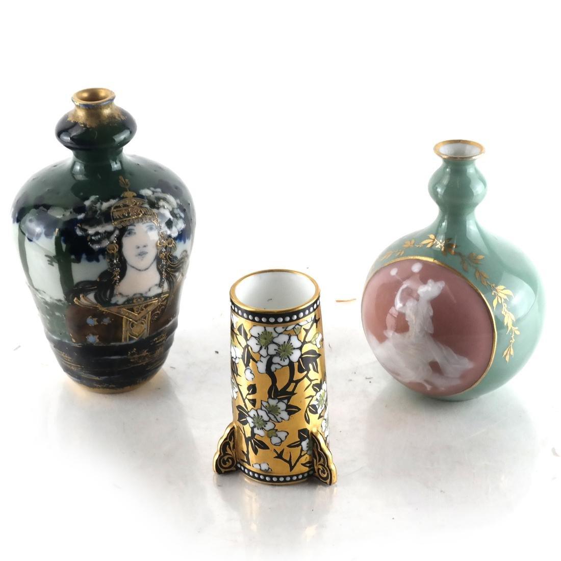 Three Decorated Porcelain Bud Vases