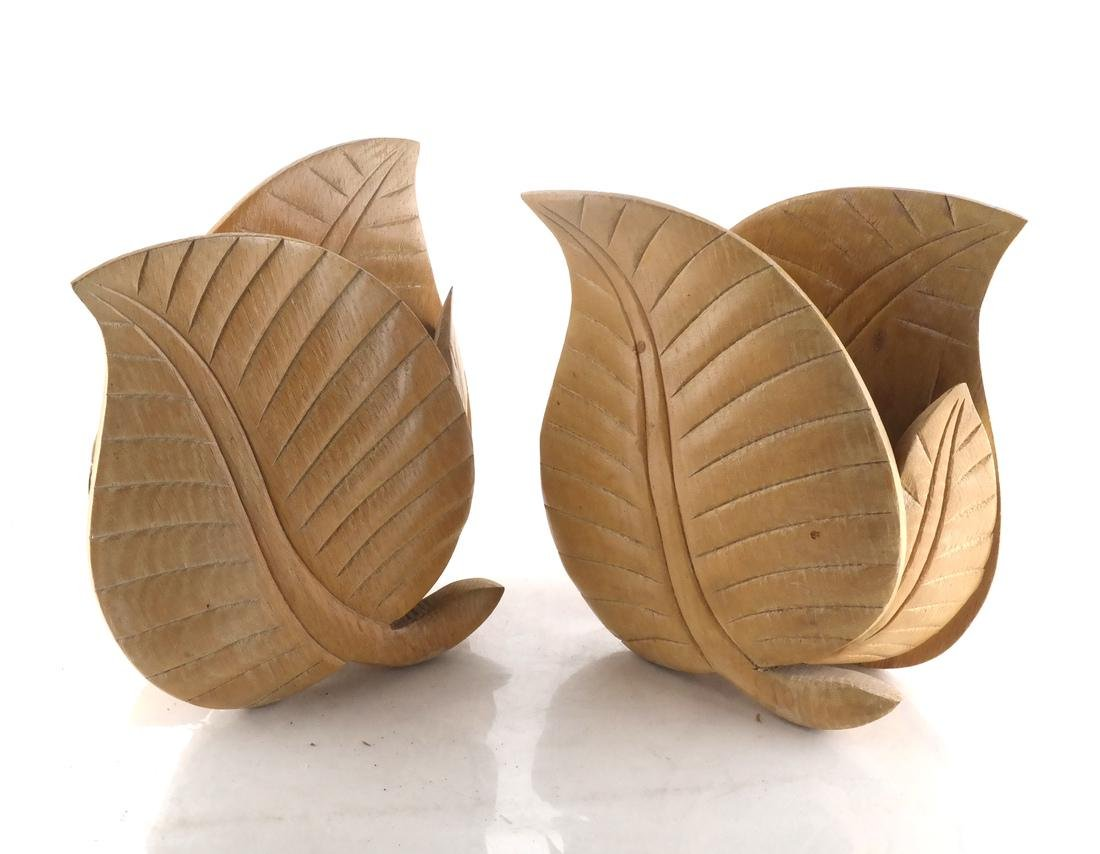 Pair of Leaf-Form Wood Vessels/Planters