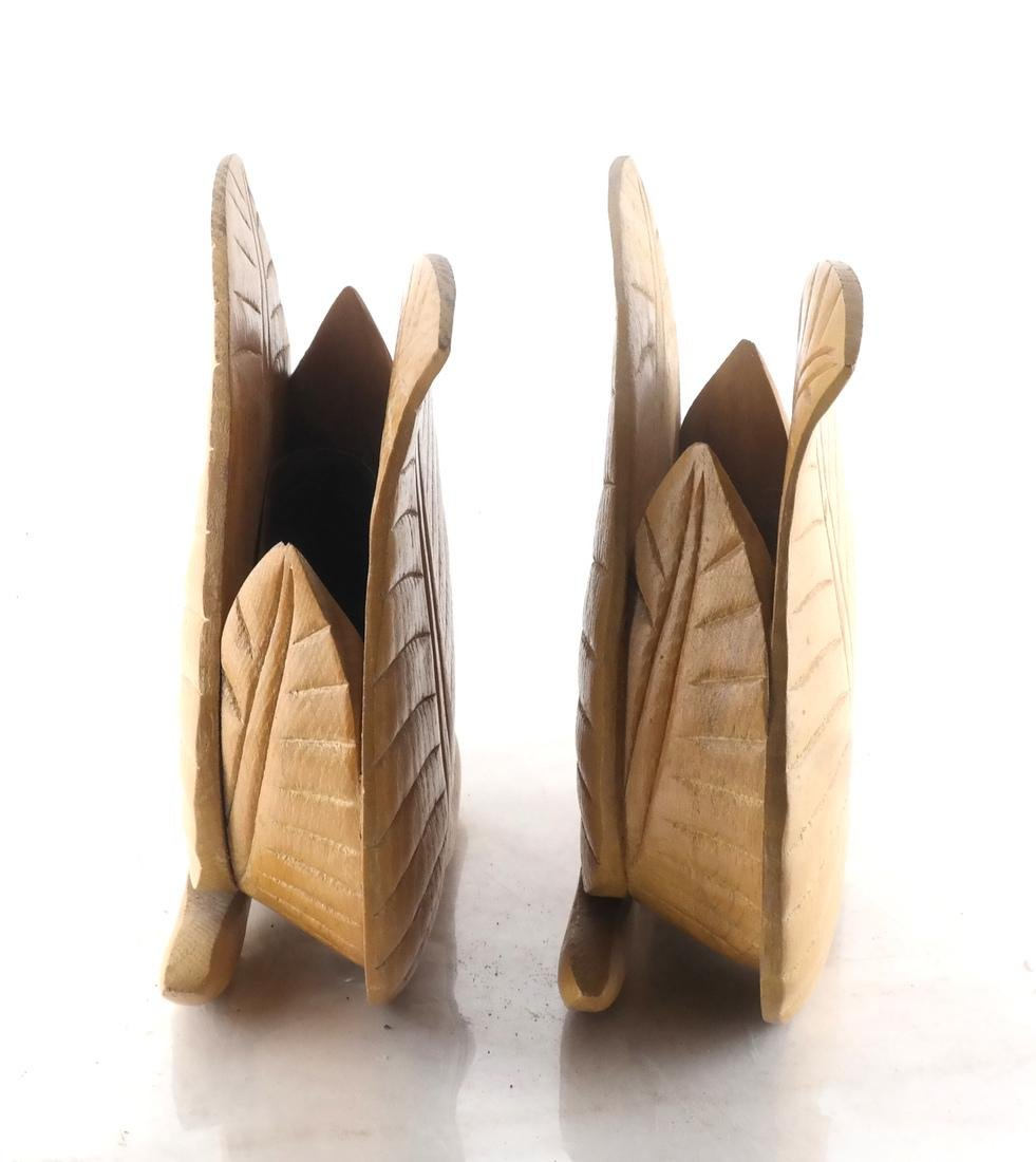 Pair of Leaf-Form Wood Vessels/Planters - 3