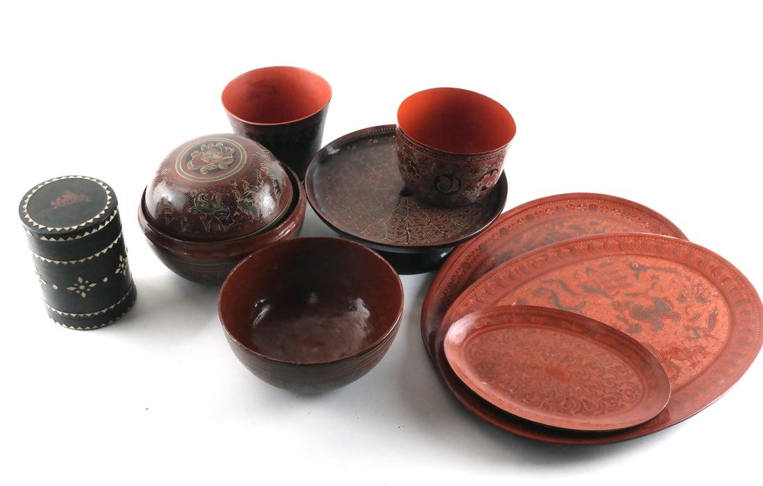 Group of Seven Lacquerware Items