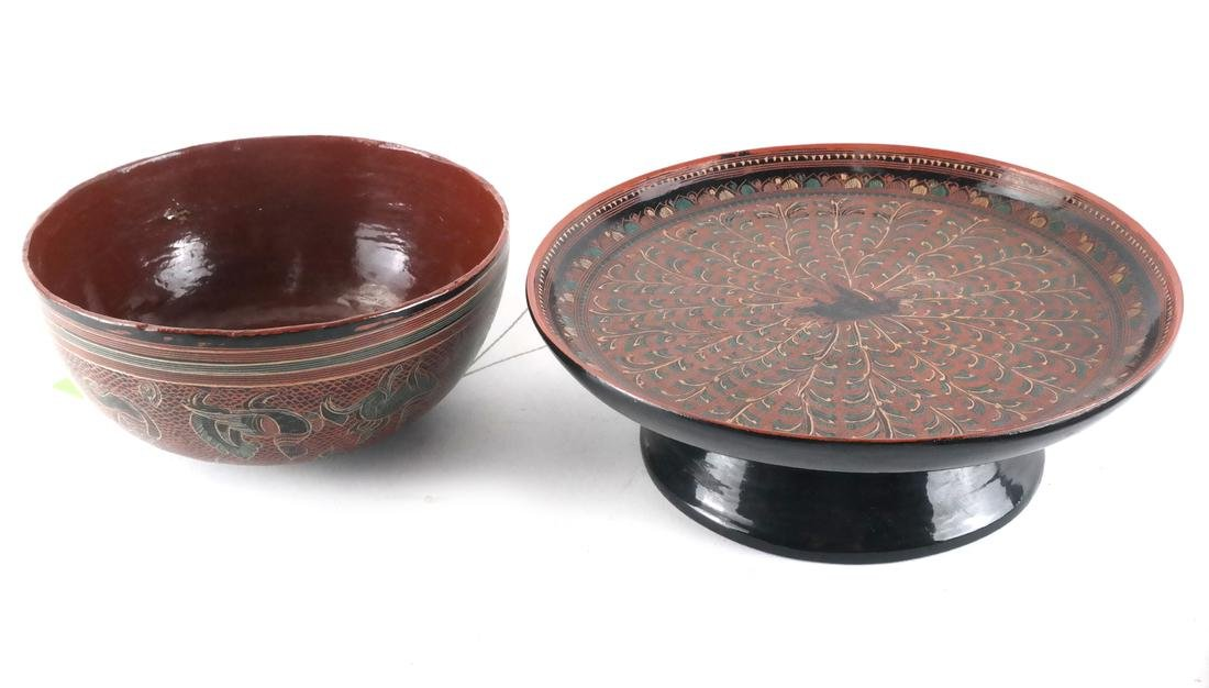Group of Seven Lacquerware Items - 3