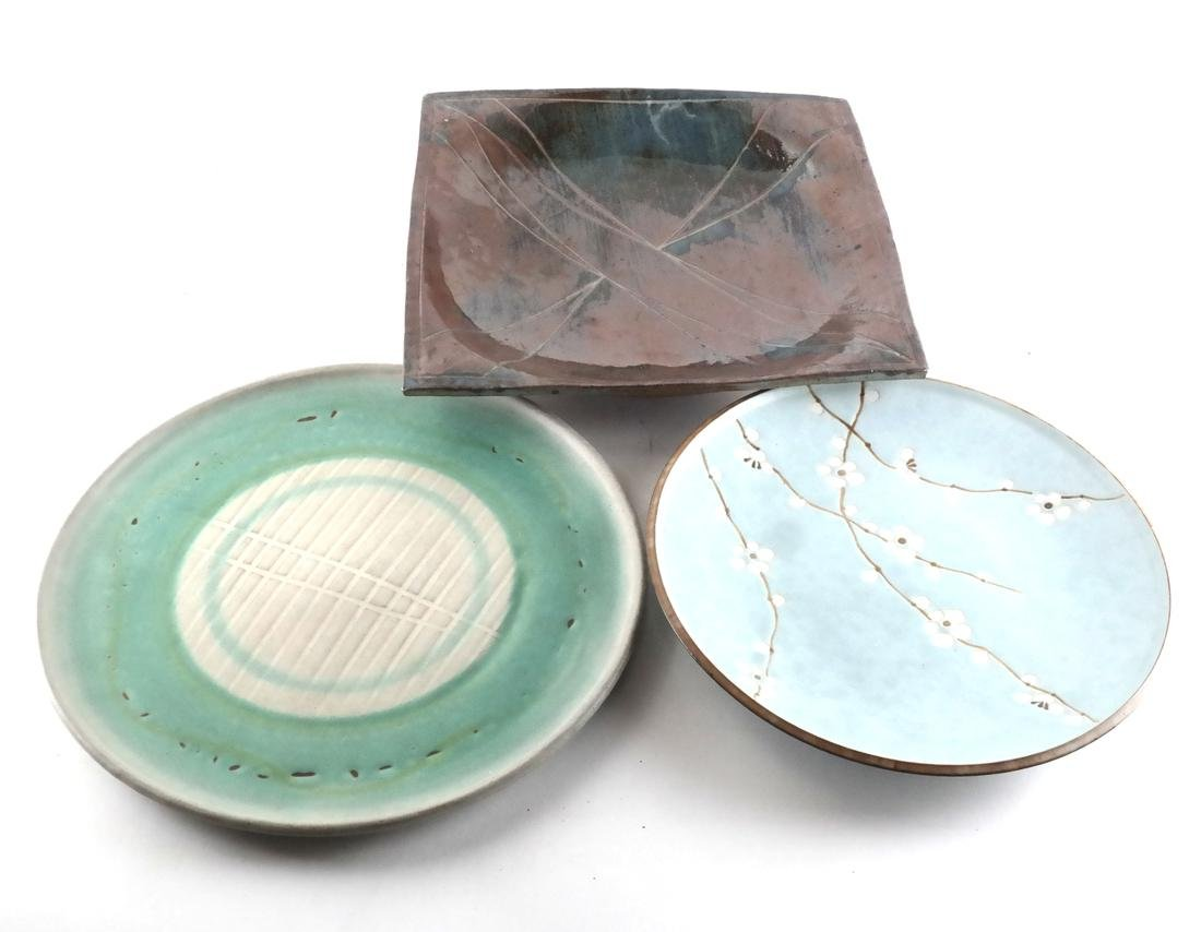 Three Decorated Ceramic Chargers