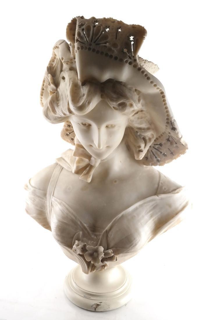 Antique Alabaster Sculpture - Woman