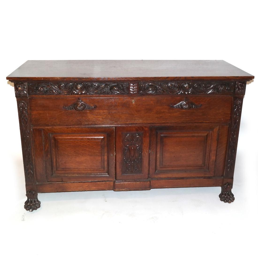 Antique Ornate Golden Oak Sideboard