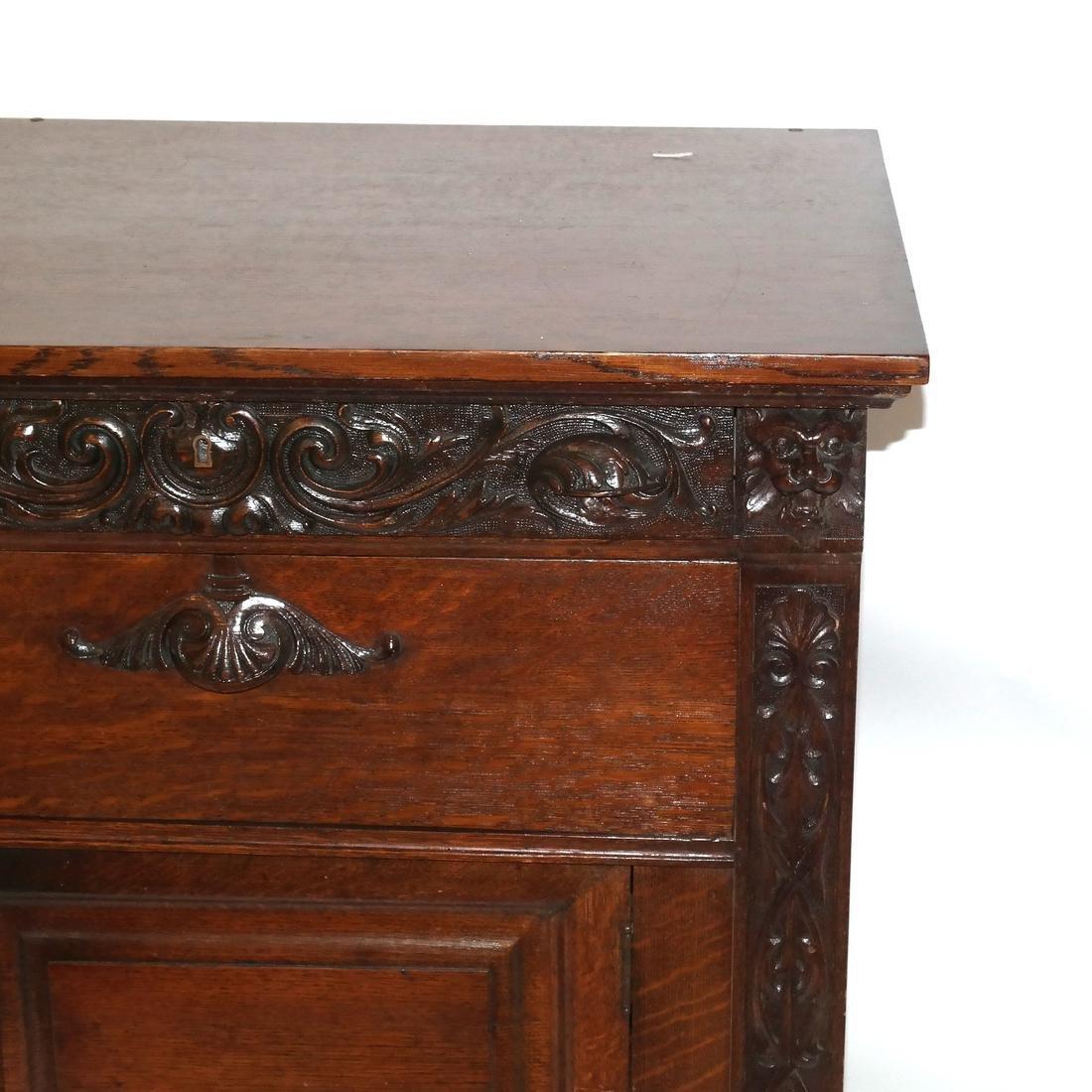 Antique Ornate Golden Oak Sideboard - 2